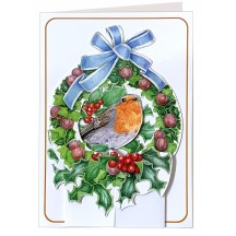 3-D Christmas Robin in Wreath Card ~ England