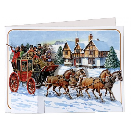 3-D Christmas Stagecoach Card ~ England