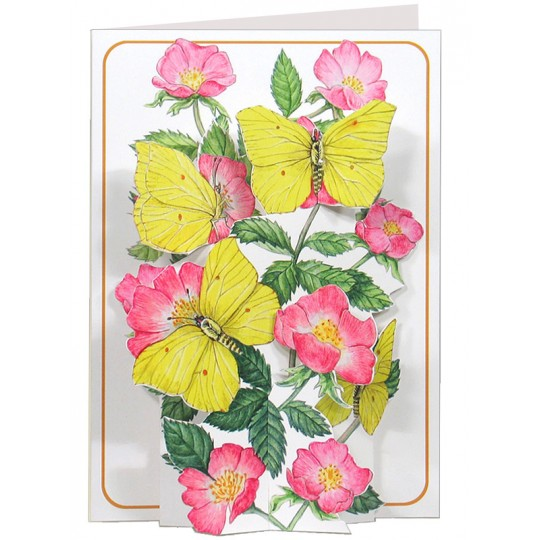 3-D Yellow Butterflies and Flowers Card ~ England