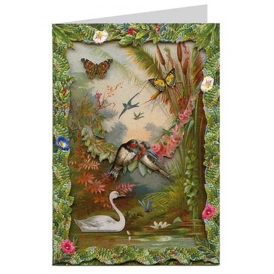 Bird and Butterfly Lagoon 3-D Card ~ England