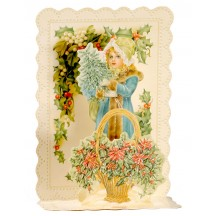 Pop-up Victorian Girl with Greenery Christmas Card ~ England