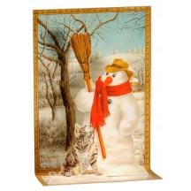 Pop-up Snowman with Cat Christmas Card ~ England