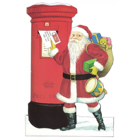 Santa Post Box Christmas Card ~ England