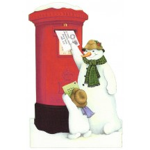 Snowman Post Box Christmas Card ~ England