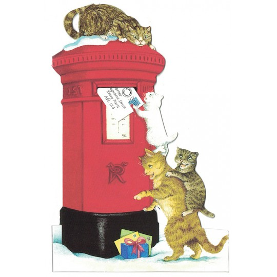 Cats Post Box Christmas Card ~ England