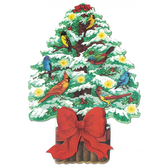 Colorful Christmas Tree and Birds 3-D Christmas Card ~ England