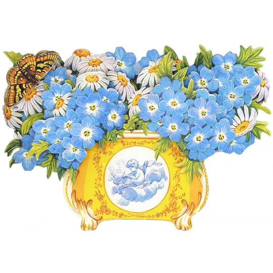 3-D Daisies and Blue Flower Bowl Card ~ England