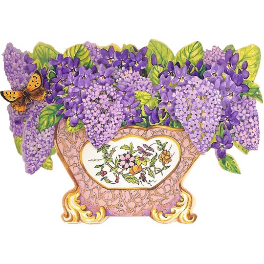 3-D Lilac and Violets Flower Bowl Card ~ England