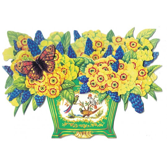 3-D Yellow Primrose and Muscari Flower Bowl Card ~ England