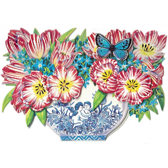 3-D Tulip and Delft Flower Bowl Card ~ England