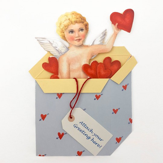 Cupid in Box Standing 3-D Valentine Card ~ England