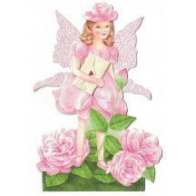 Pink Rose Fairy Messenger Glittered 3-D Card ~ England