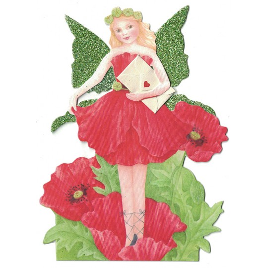 Red Poppy Fairy Messenger Glittered 3-D Card ~ England
