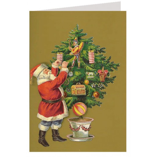 Christmas Tree and Santa 3-D Christmas Card ~ England