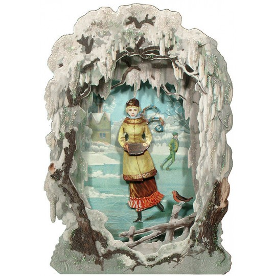 Christmas Ice Skater Winter Scene 3-D Christmas Card ~ England