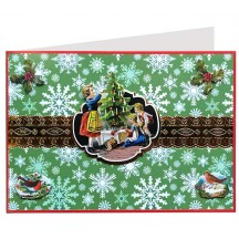 Children with Tree 3-D Christmas Card ~ England