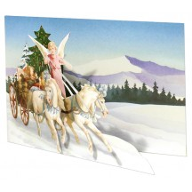 Angel with Carriage Die-Cut 3-D Christmas Card ~ England