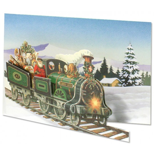 Santa with Train Die-Cut 3-D Christmas Card ~ England