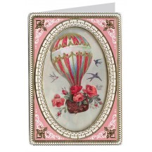 Floral Hot Air Balloon 3-D Card ~ England