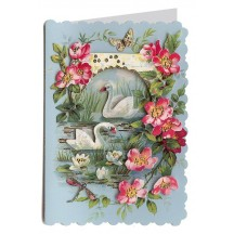 Swans and Flowers 3-D Card ~ England