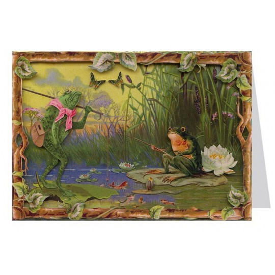 Fishing Frogs 3-D Card ~ England