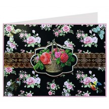 Pink Roses on Black 3-D Card ~ England