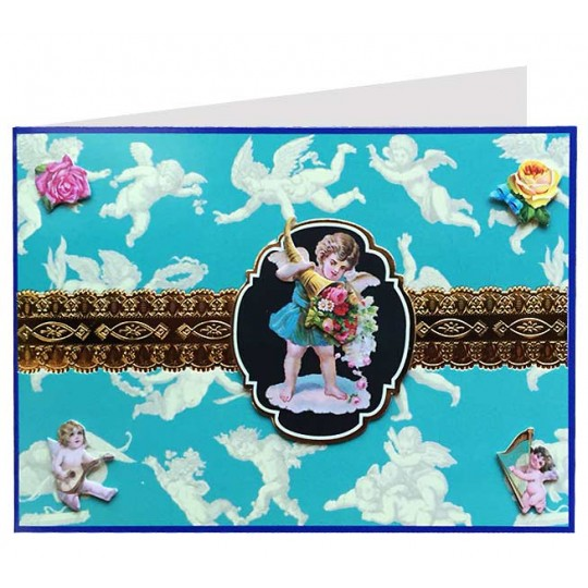 Angels and Roses on Blue 3-D Card ~ England