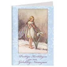 The Snowdrop Fairy Flower Fairy Glittered Christmas Card ~ Holland ~ Blue