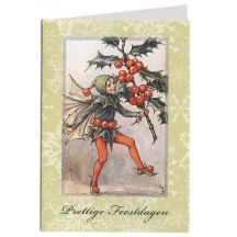 The Holly Fairy Glittered Christmas Card ~ Holland ~ Green