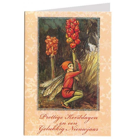 The Lords-and-Ladies Fairy Flower Fairy Glittered Christmas Card ~ Holland ~ Peach