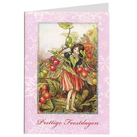 The Black Bryony Flower Fairy Glittered Christmas Card ~ Holland ~ Pink