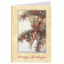 The Yew Fairy Flower Fairy Glittered Christmas Card ~ Holland ~ Beige
