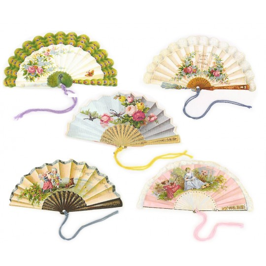 Set of 5 Extra Large Victorian Fan Gift Tags ~ England
