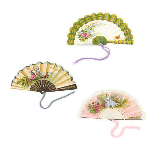 Set of 6 Extra Large Victorian Fan Gift Tags ~ England