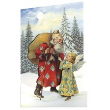 Victorian Santa and Angel 3-D Christmas Card ~ England