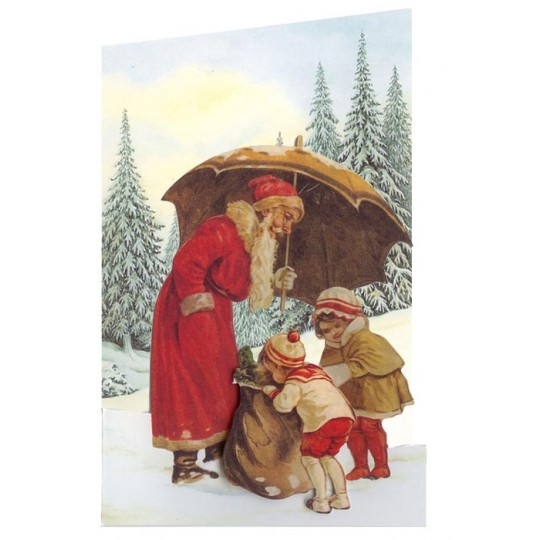 Christmas Decorations In Victorian England: Victorian Santa And Children 3-D Christmas Card