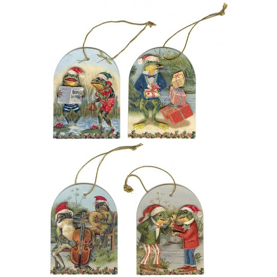 Set of 4 Dimensional Frogs Christmas Gift Tags