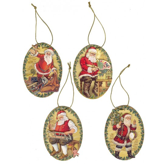 Set of 4 Dimensional Santa Christmas Gift Tags