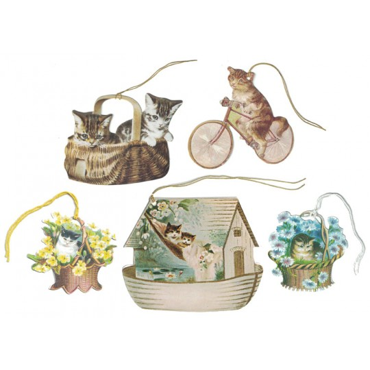 Set of 5 Mixed Cat Gift Tags ~ England