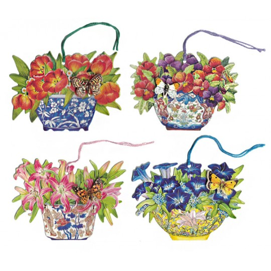 Set of 4 Beautiful 3-D Butterfly Flower Bowl Gift Tags ~ England