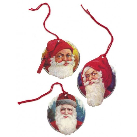 Set of 6 Large Santa Face Gift Tags ~ England