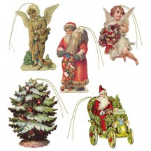 Set of 5 Extra Large Mixed Santa and Angel Gift Tags ~ England