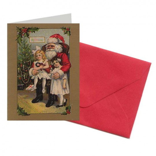 Santa with Victorian Girls Miniature Gift Card ~ England
