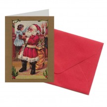 Santa with Child Miniature Gift Card ~ England
