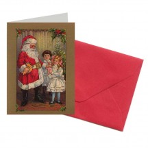 Santa with Toys and Children Miniature Gift Card ~ England