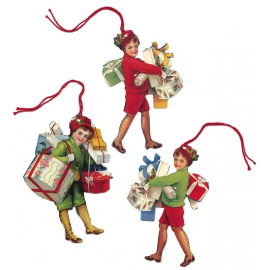 Set of 6 Extra Large Christmas Children Gift Tags ~ England