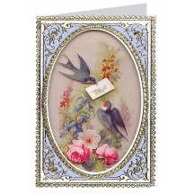 Swallows and Flowers 3-D Card ~ England