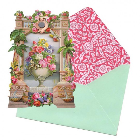 Floral Urn with Butterflies 3-D Card ~ England
