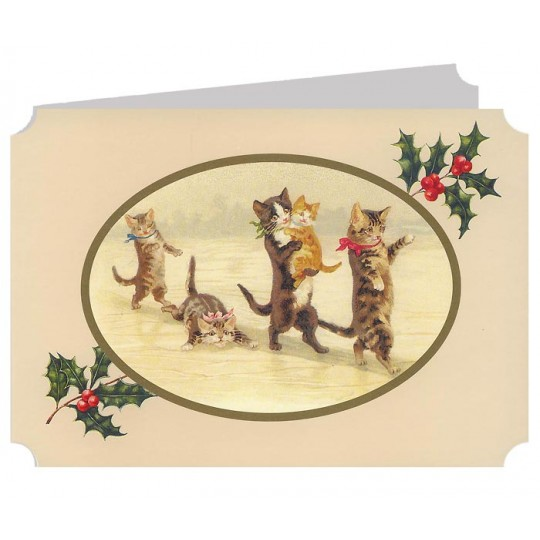 Cats on a Winter Walk Catland Christmas Card ~ England