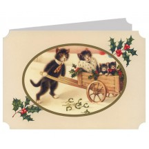 Cats with Wheelbarrow Catland Christmas Card ~ England